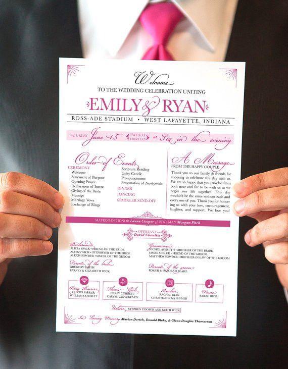 Printable Wedding Program, Raspberry One-Page Event Program ...