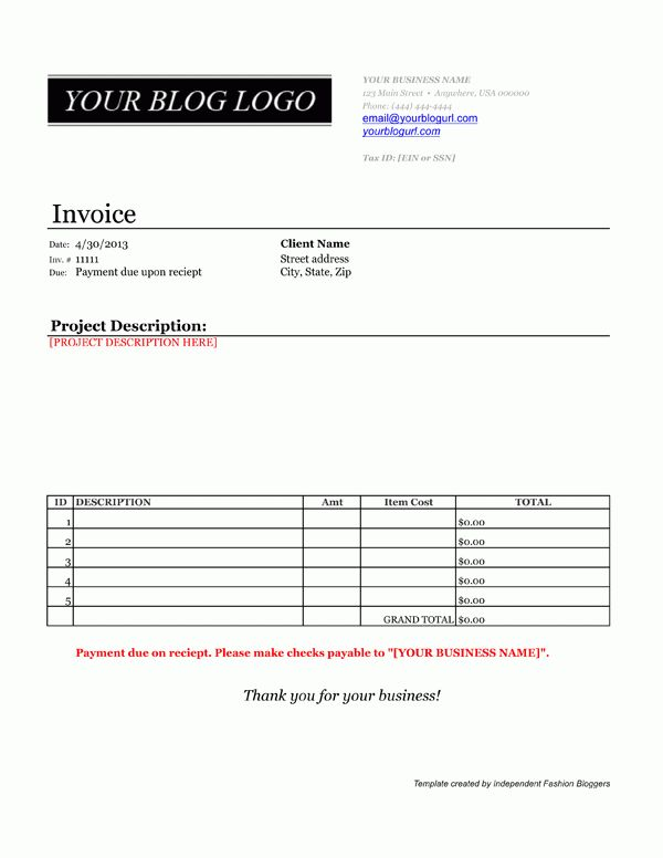 4 paid invoice template | Printable Receipt