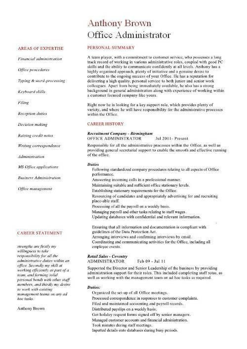 Office administrator resume examples, CV, samples, templates, jobs ...