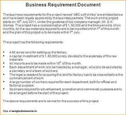 6+ business requirements document example | academic resume template