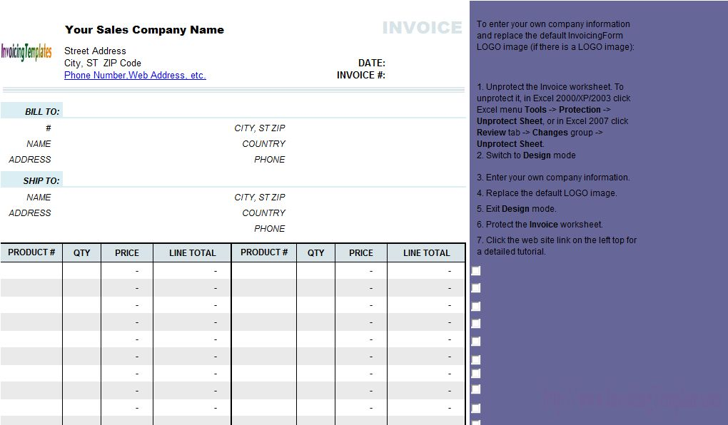 Simple Sales Invoice Template without Item Description