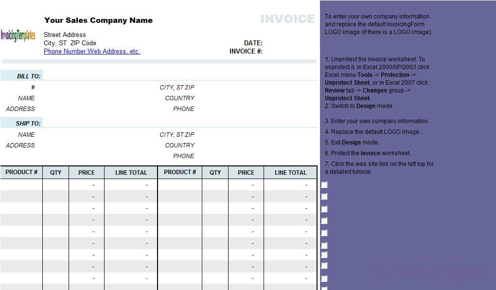 Simple Sales Invoice Template without Item Description