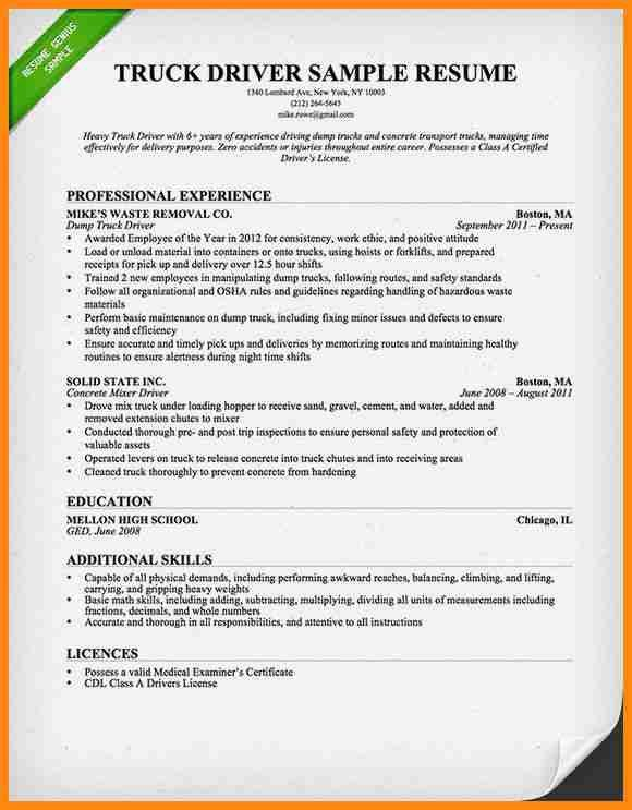 8+ commercial truck driver resume sample | driver-resume