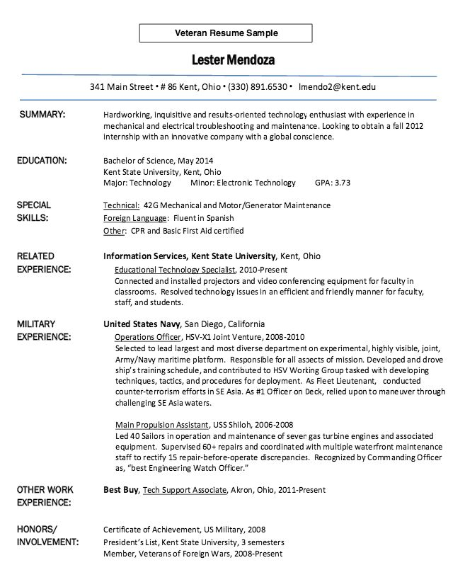 Download Veteran Resume | haadyaooverbayresort.com