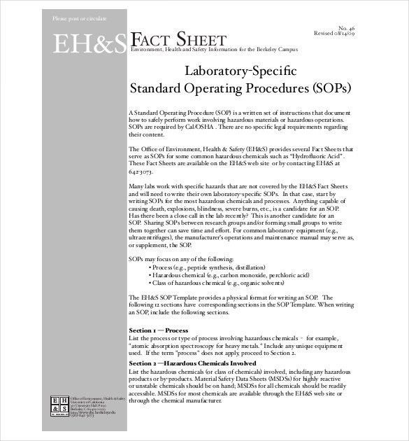 Operating Procedure Template. 9 standard operating procedure sop ...