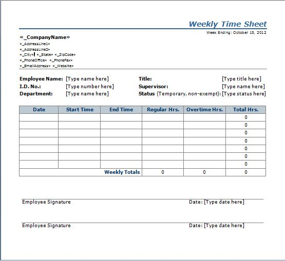 free torrent Weekly Timesheets Download