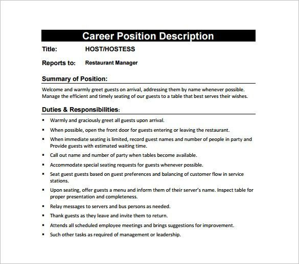 Hostess Job Description Template – 10+ Free Word, PDF Format ...