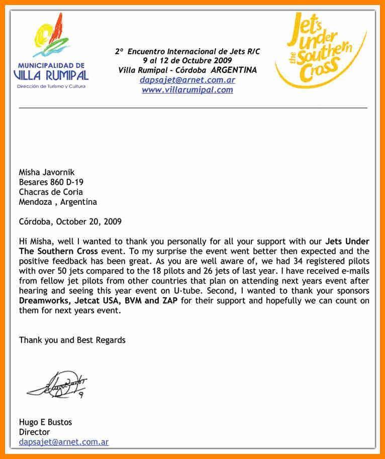 6+ thank you letter for sponsorship event | job resumed