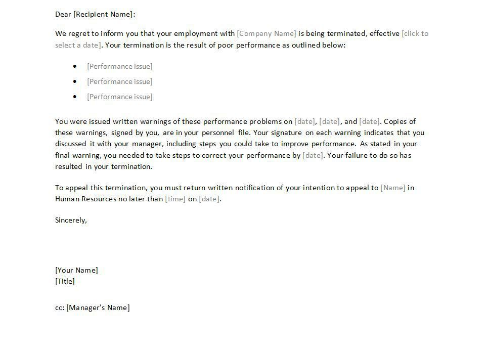 Termination Letter to Employee Template