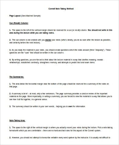 Sample Cornell Note Template in Word - 9+ Examples in Word, PDF