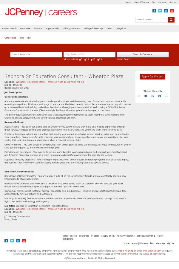 Sephora Senior Education Consultant job at JCPenney in Wheaton, MD ...