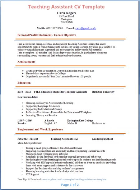 resume sample for teacher assistant gallery creawizardcom - Sample Resume For Teacher Assistant