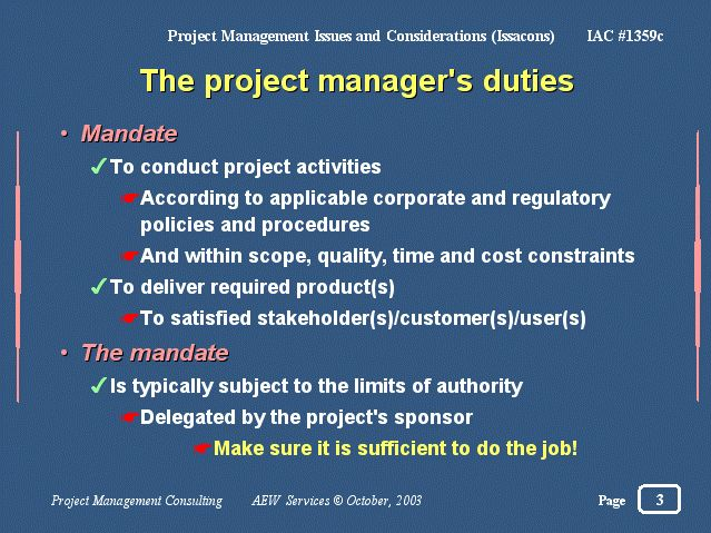 The project manager's duties