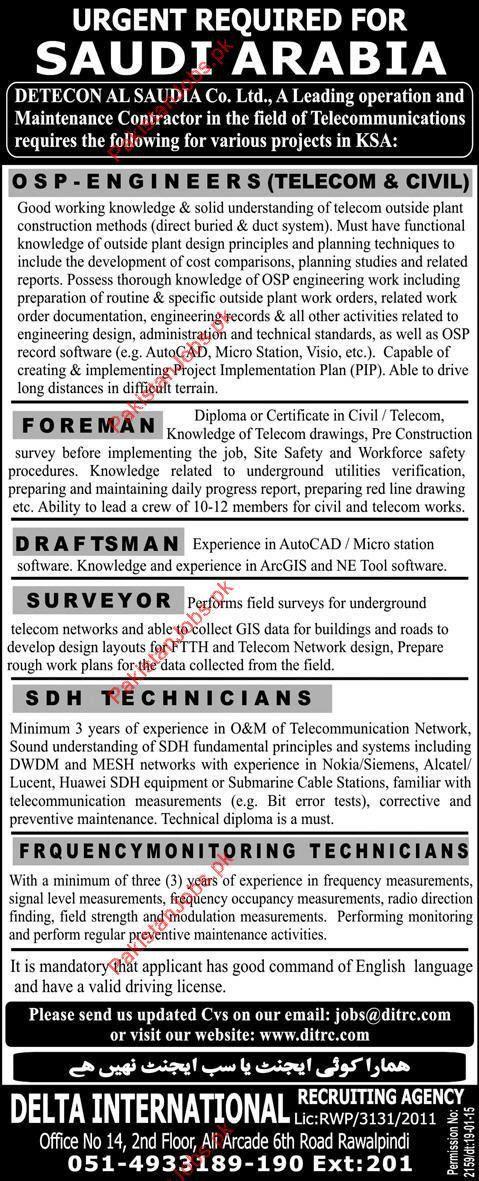 OSP Engineers, Foreman, Draftsman, Surveyor, SDH Technicians ...