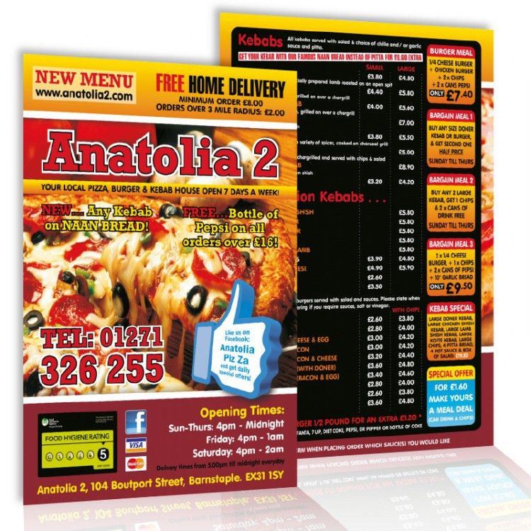 A4 Menu Leaflet Deals with 30 Free A3 Posters | eColour Print