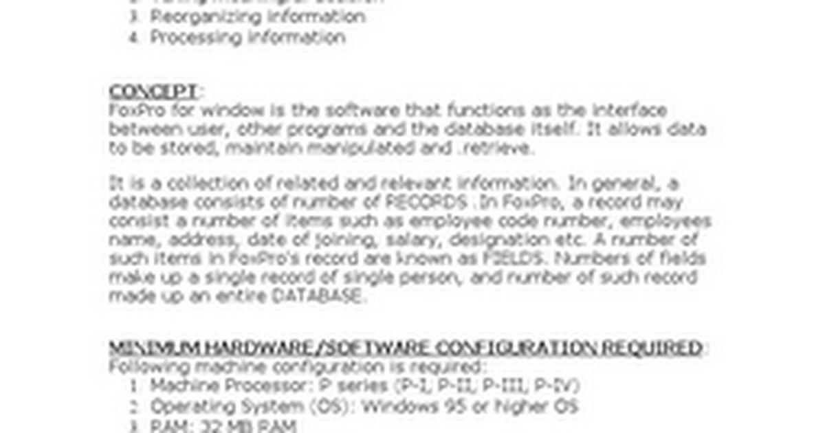 Microsoft Visual FoxPro Study - Google Docs