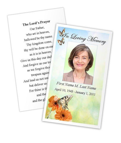 Butterfly Prayer Card Template | Funeral Card