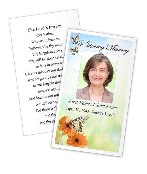 Butterfly Prayer Card Template | Funeral Card
