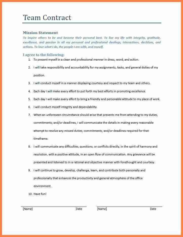 Team Contract Template | Template Design