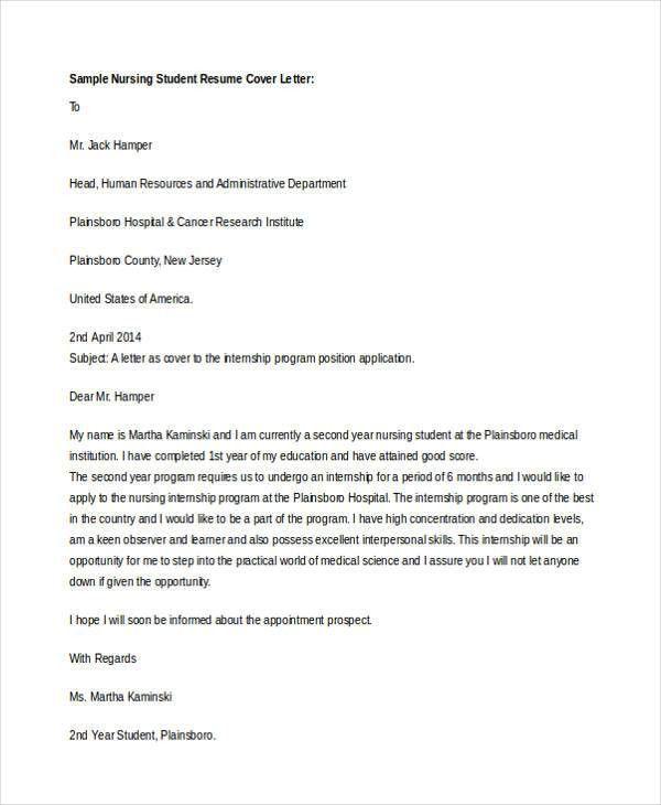 Internship Cover Letter - 10+ Free Word, PDF Format Download ...
