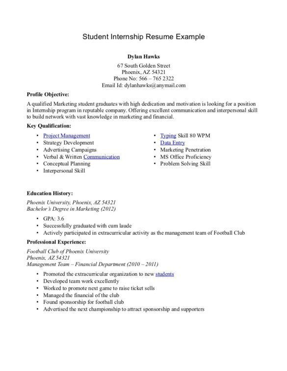 Perfect Student Internship Resume Sample with Education History ...