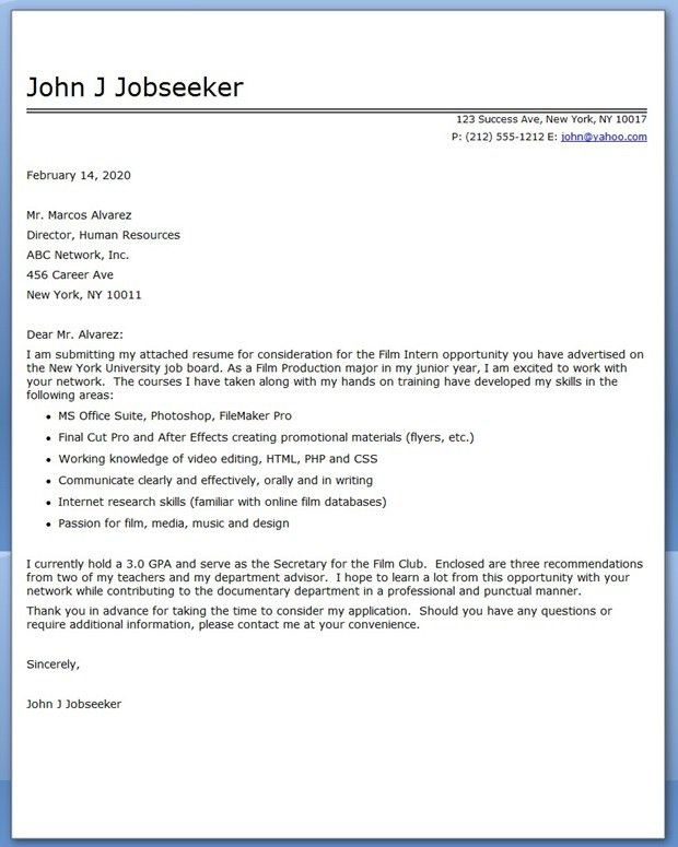 internship sample cover letter cover letter internship cover ...