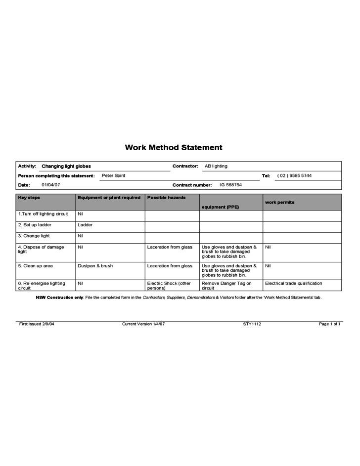 Example Work Method Statement Free Download