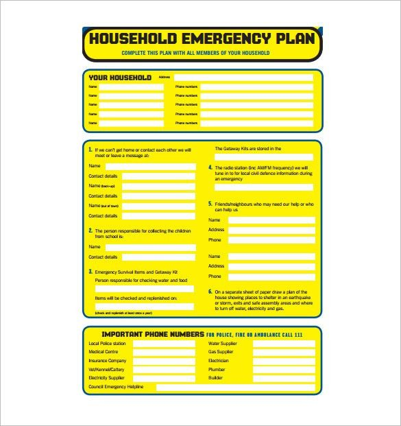 Emergency Plan Template – 8+ Free Word, PDF Documents Download ...