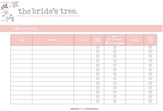 Easy to Use Wedding Guest Address List Template with Red Table ...