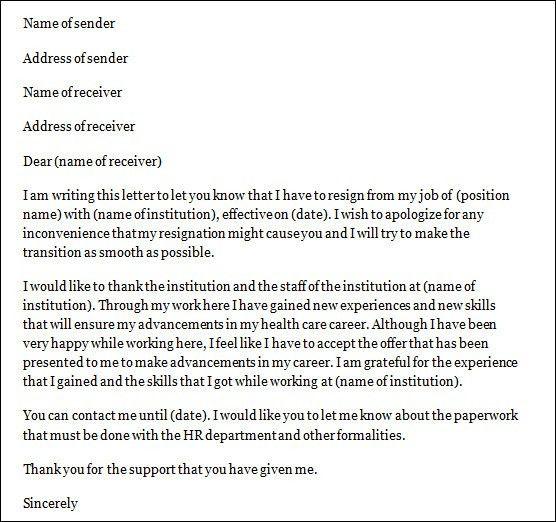 Sample Nurse Resignation Letter