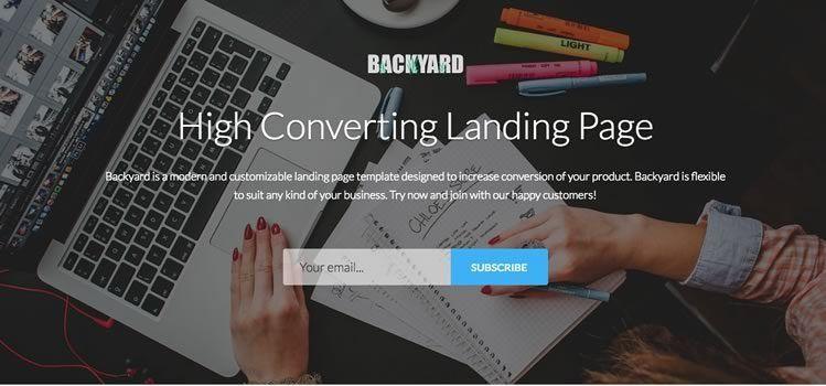 Backyard – High Converting Free Bootstrap Landing Page Template ...