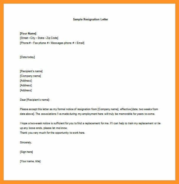 two week resignation letter template | bio letter format