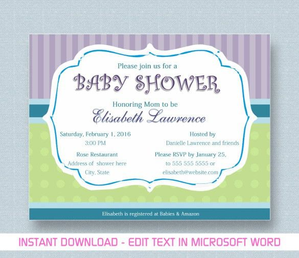 Baby Shower Invitations Templates Free For Word #8675