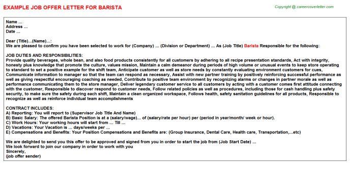 Barista Offer Letter
