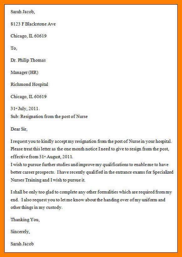 7+ nurse resignation letter sample | packaging clerks