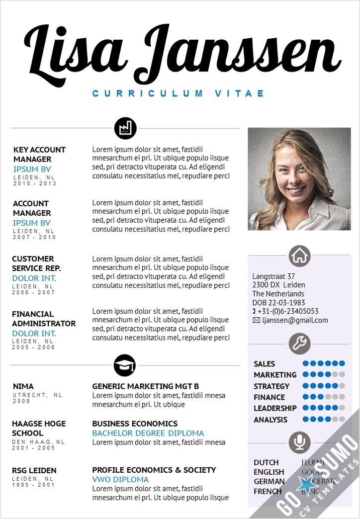 Creative cv template. 2 page template in word and powerpoint + ...