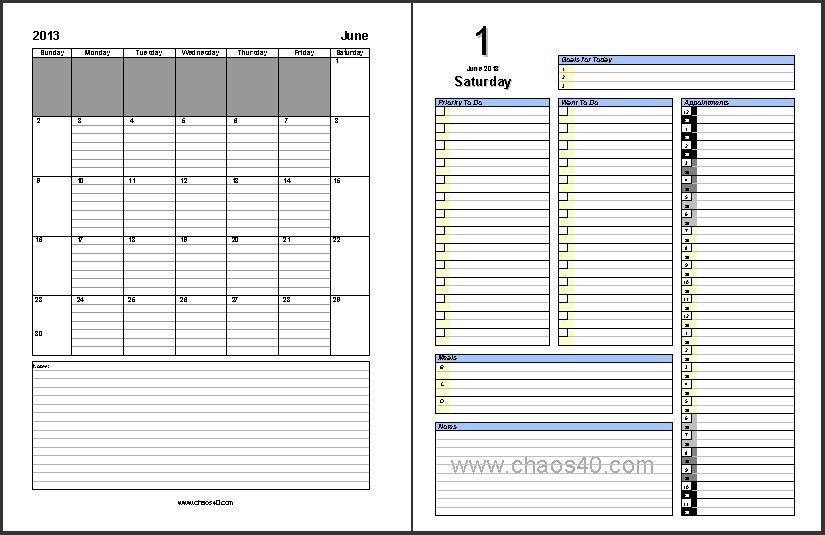 June 2013 Daily Planner - Free Printable Pages - Chaos40.com