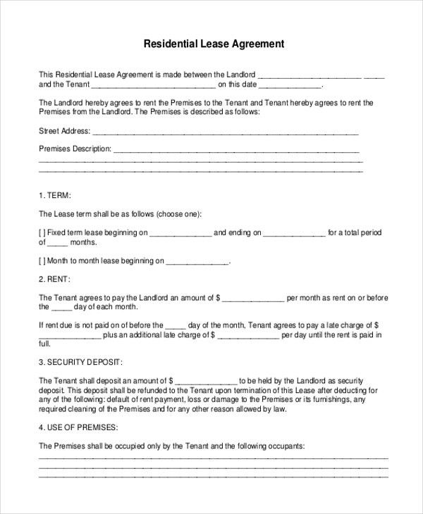 Printable Lease Agreement Form Sample - 10 + Free Documents in Doc ...