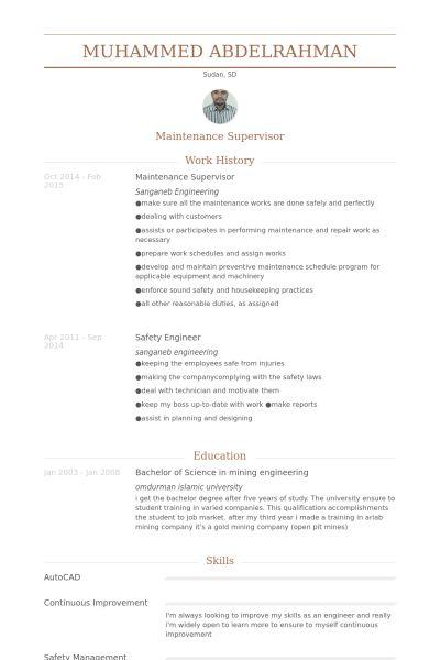 Maintenance Supervisor Resume samples - VisualCV resume samples ...