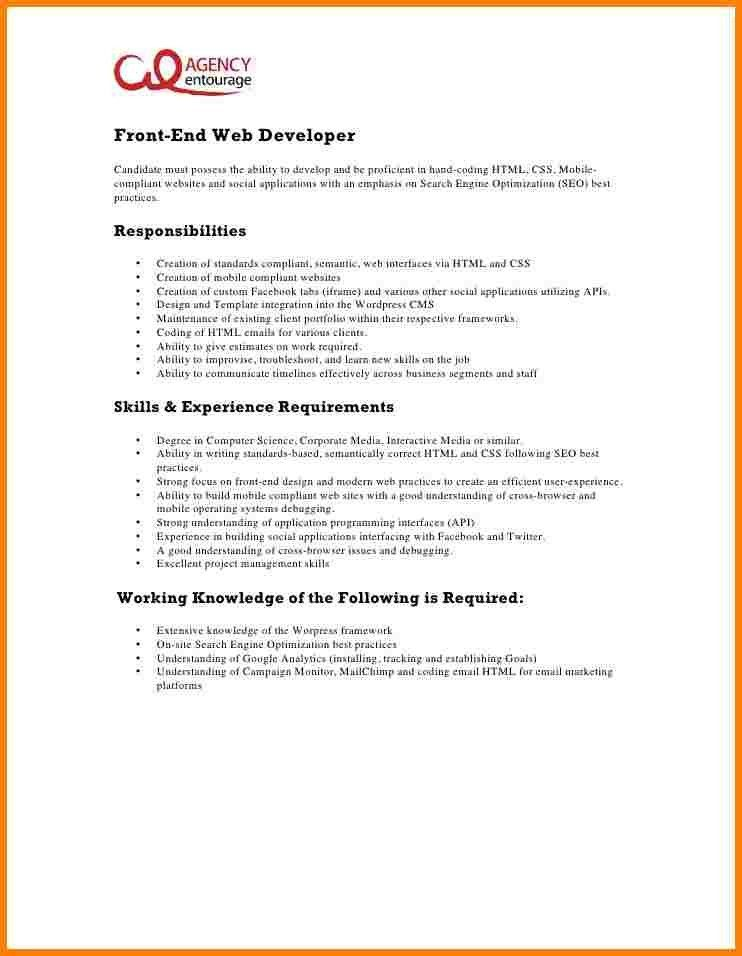 Java front end web developer resume