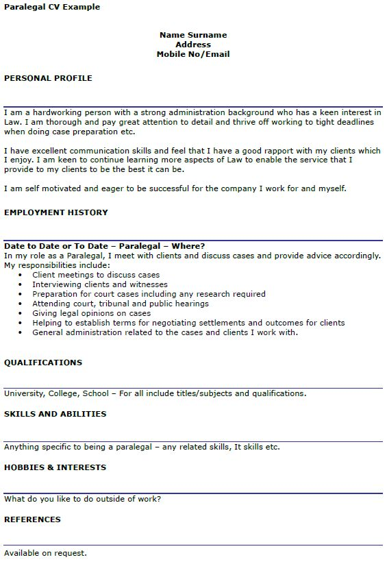Paralegal CV Example - icover.org.uk