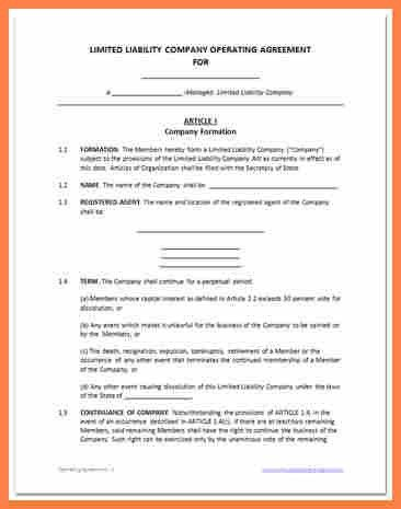 4+ single member llc operating agreement template | Purchase ...