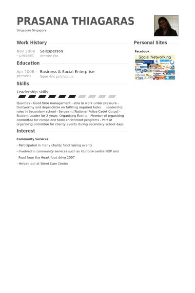 Salesperson Resume samples - VisualCV resume samples database