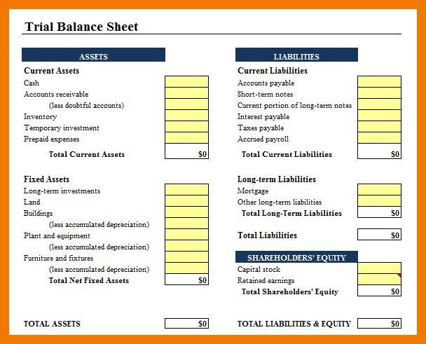 5+ balance sheet excel format free download | mailroom clerk
