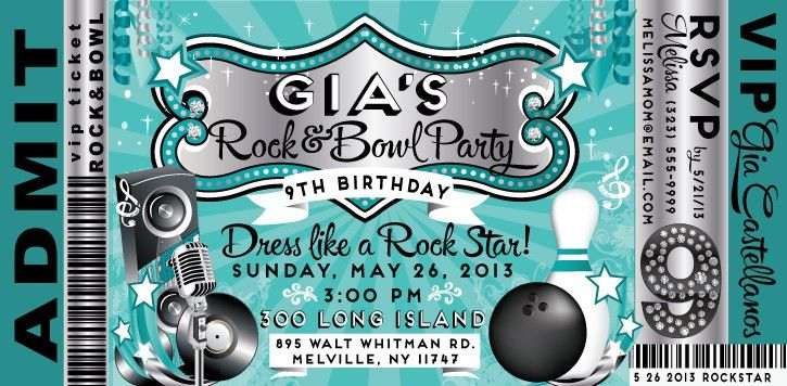 VIP Rock and Bowl Birthday Invitation [DI-8017] : Harrison ...