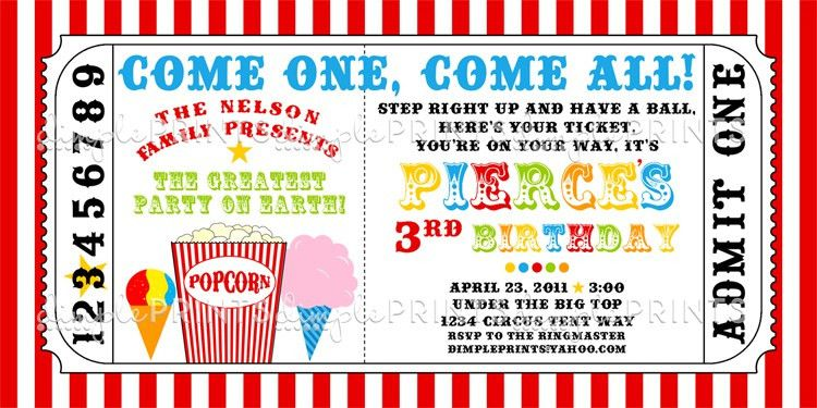 Snowcone, Popcorn and Cotton Candy Ticket Invite - Dimple Prints Shop
