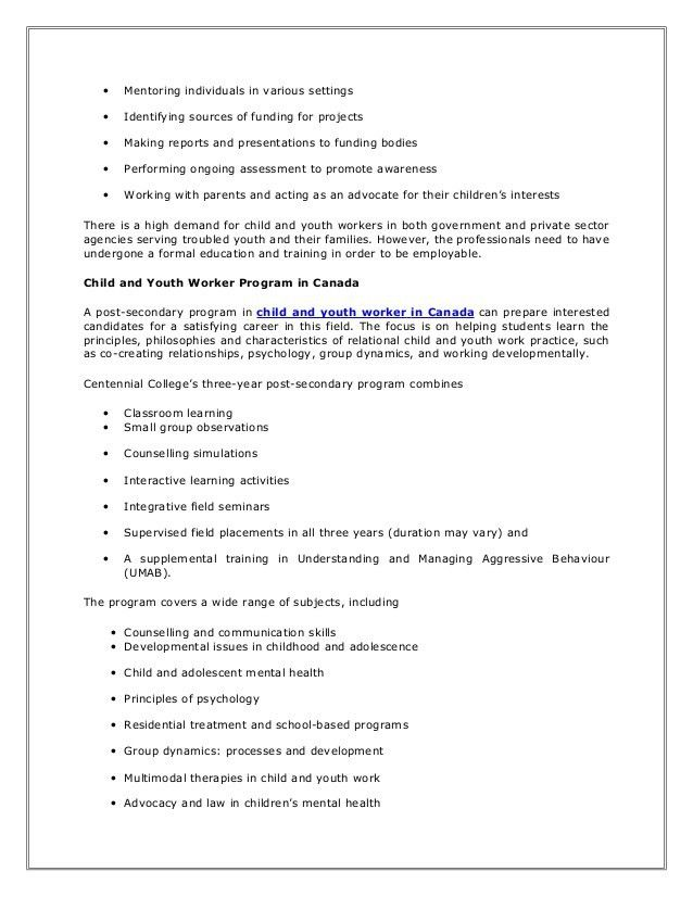 Child and youth workers in canada job description and educational req…