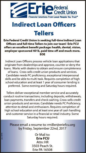 Teller job at Erie Federal Credit Union   Monster.com