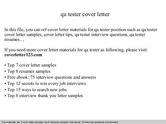 Qa tester cover letter
