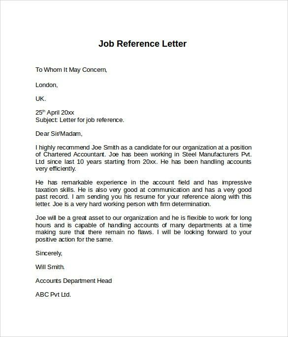 How To Format A Job Reference Letter - Huanyii.com